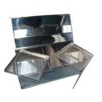 2.1) Churrasqueira Bafo Média em Aço Inox 430 ( DUAS GRELHAS)
